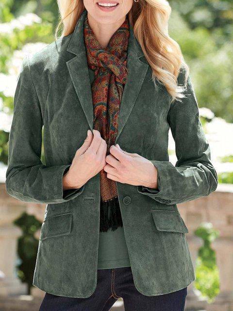 Army Green Plain Paneled Long Sleeve Lapel Outerwear