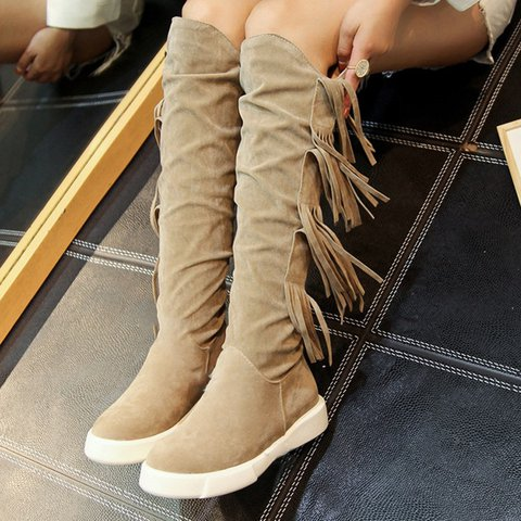 Women Winter Slip-On Tassel Suede Knee-High Boots