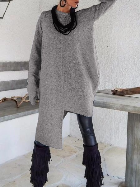 Light Gray Long Sleeve Asymmetrical Shirts & Tops