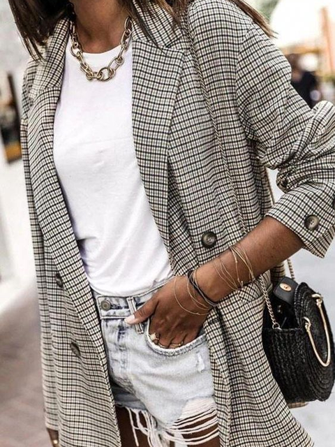 Gray Casual Cotton-Blend Checkered/plaid Outerwear