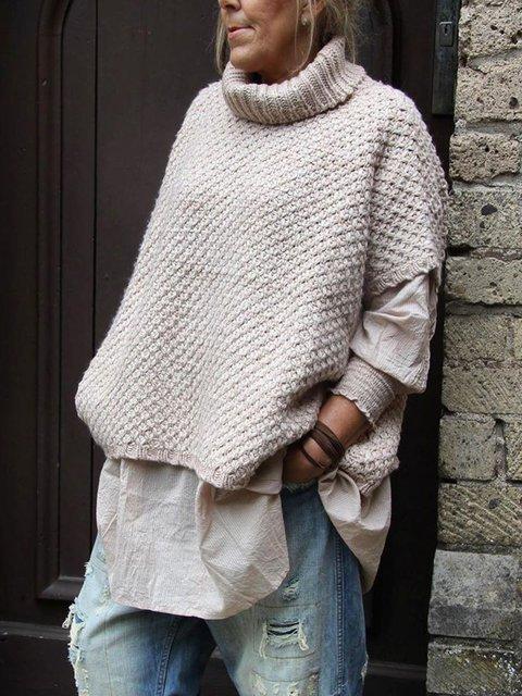 Plain Crew Neck Casual Short Sleeve Sweater