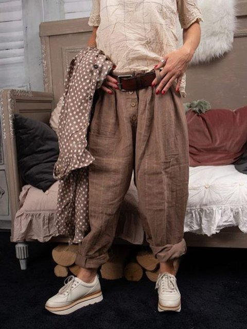 Plus Size Casul Vintage Natural Daytime Pants