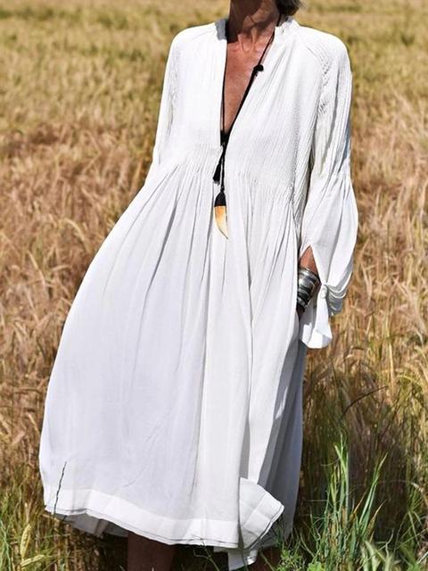 V Neck White Women Dresses Shift Going Out Cotton Dresses