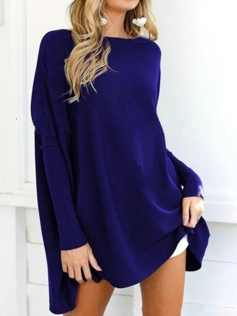 Plus Size Long Sleeve Casual Plain Sweater