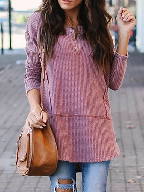 Long Sleeve V Neck Casual Sweater