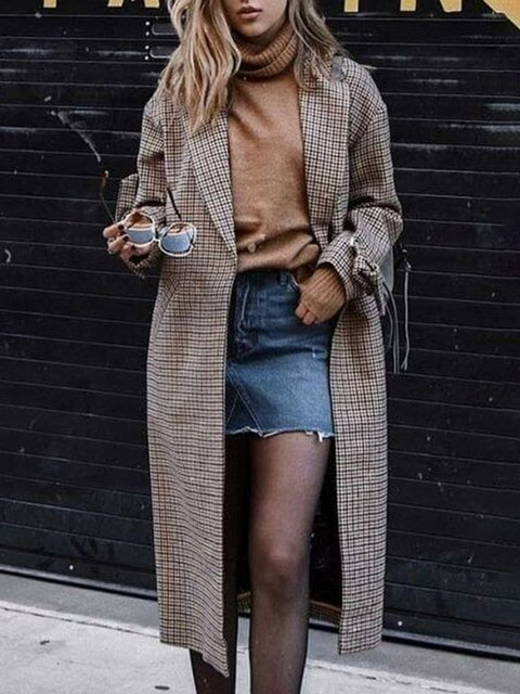 Checkered/plaid Pockets Long Sleeve Outerwear