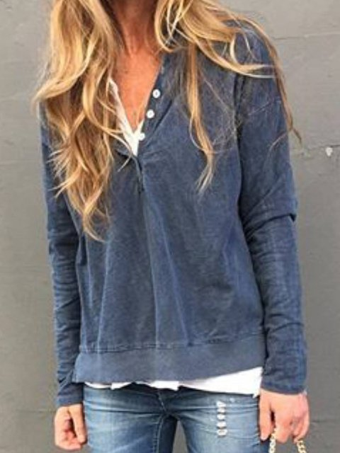Blue Casual Plain Shirts & Tops