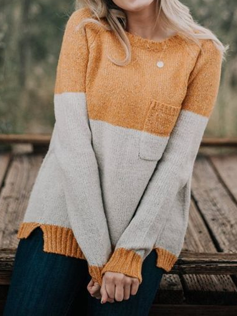 White-Yellow Crew Neck Casual Color-Block Wool Shirts & Tops