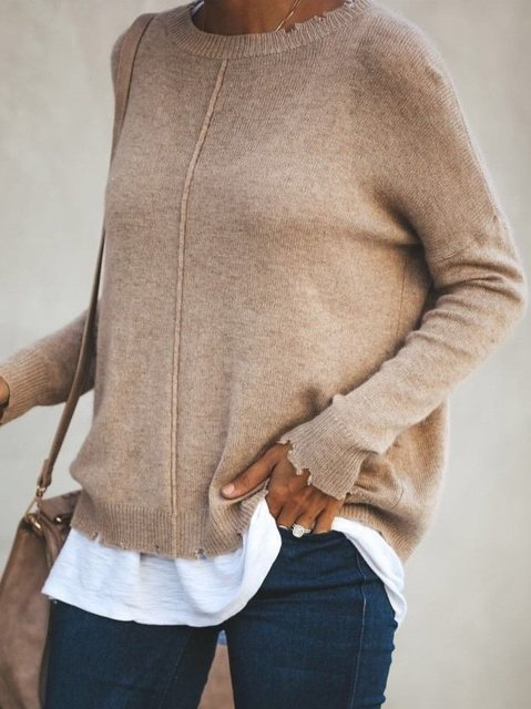 Round Neck Solid Long Sleeve Cotton-Blend Sweater