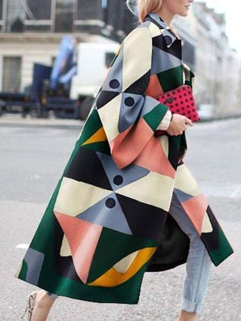 Printed Graphic Long Sleeve Geometric Casual Outerwear