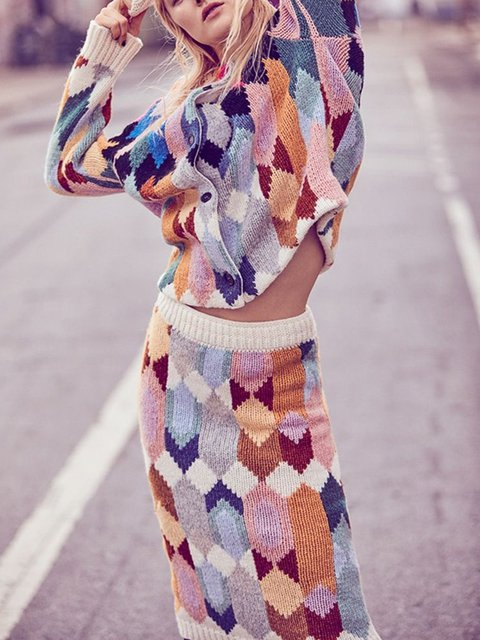 Plus Size Muticolor Two Pieces Women Knitted Suits