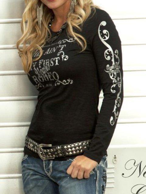Women Casual Tops Tunic Long Sleeve Printed T Shirt