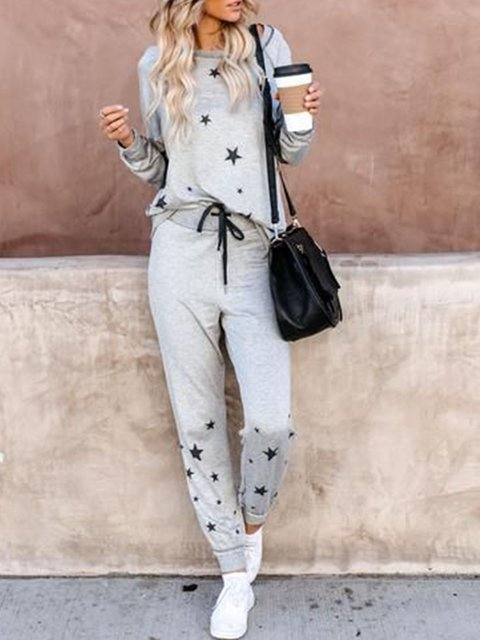 Printed Star Casual Round Neck Cotton-Blend Suits