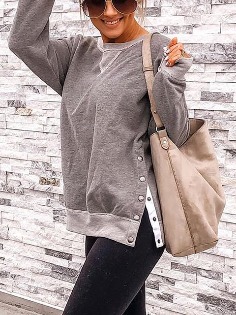 Cotton-Blend Solid Long Sleeve Casual Shirts & Tops