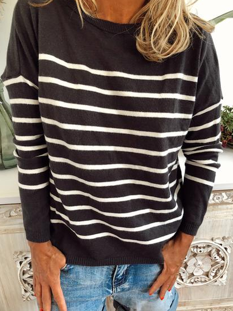 Bateau/boat Neck Stripes Knitted Long Sleeve Sweater
