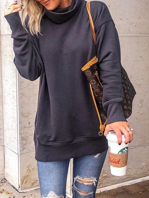 Cotton Casual Turtleneck Plus Size Sweatshirt
