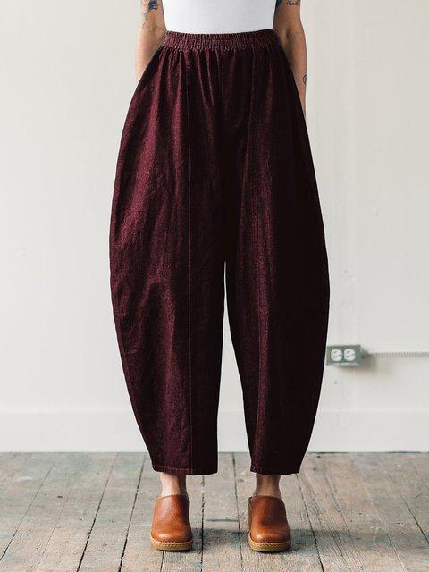 Plain Linen Shift Casual Fall Pockets Pants