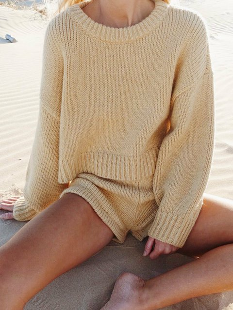 Crew Neck Long Sleeve Solid Suits