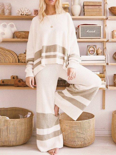 Khaki Crew Neck Striped Long Sleeve Suits