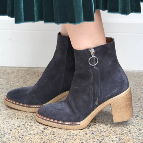 Women Pointed Toe Casual Chunky Heel Zipper Ankle Boots
