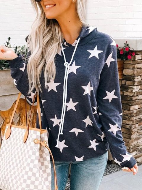 Plus Size Casual Hoodie Long Sleeve Tops