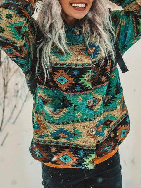 Blue Cotton-Blend Casual Outerwear