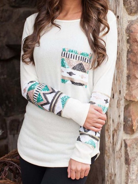 Plus Size Pockets Tribal Cotton Long Sleeve Shirts & Blouses