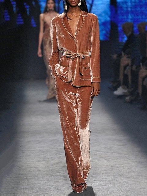Orange Velvet Long Sleeve Suits