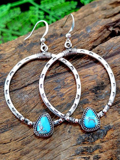 Vintage Turquoise Big Circle Earrings