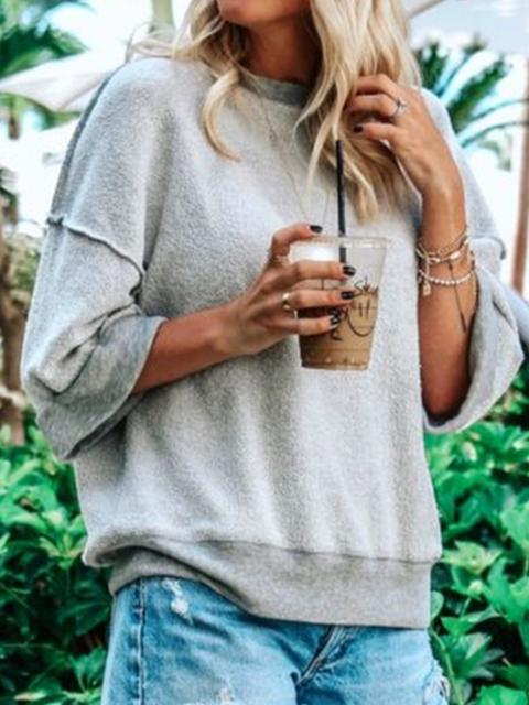 Cotton-Blend Round Neck Shirts & Tops