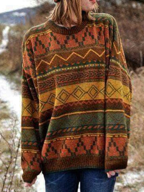 Casual Geometric Long Sleeve Sweater