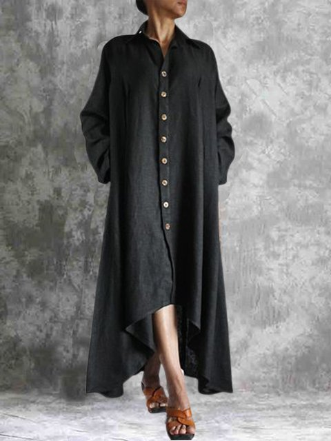 Black Casual Cotton-Blend Plain Dresses
