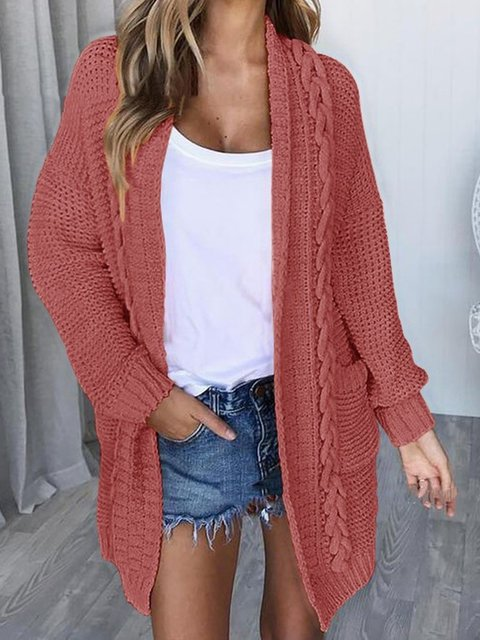 Plus Size Pockets Unbuttoned Casual Knitted Cardigans
