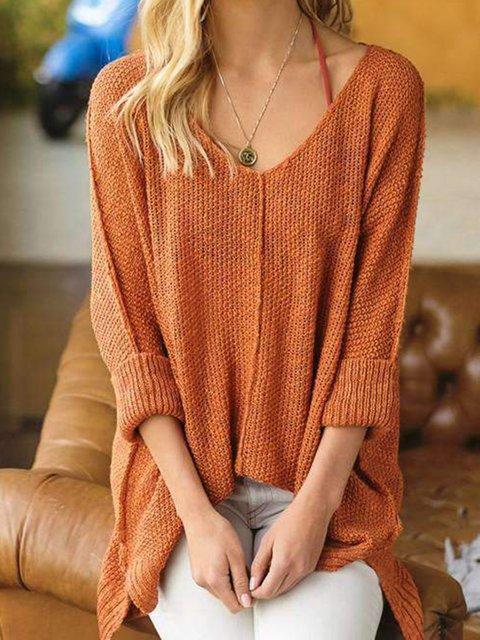 Plain Khaki Long Sleeve Daytime Sweaters