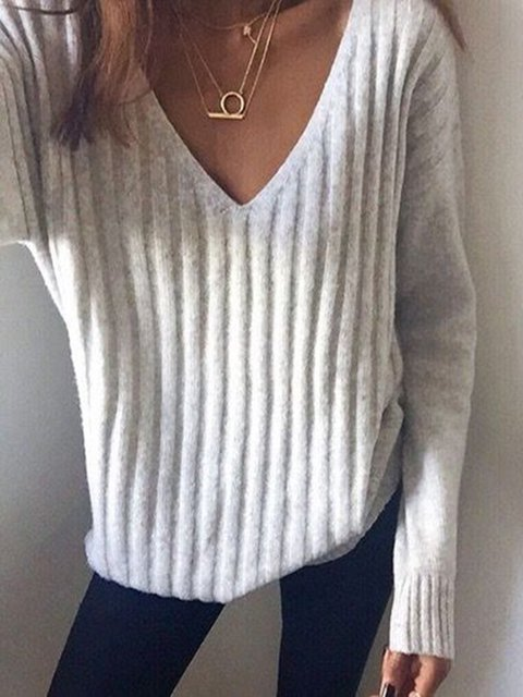Long Sleeve Plunging Neck Shirts & Tops