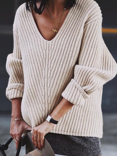 Knitted Casual V Neck Solid Sweater