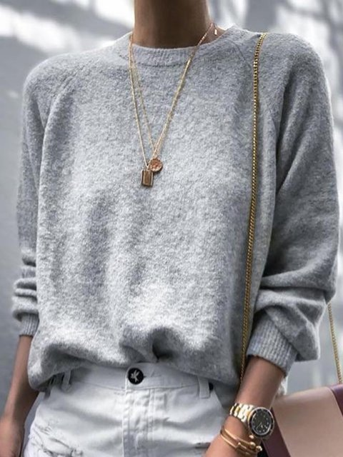 Gray Long Sleeve Round Neck Solid Shirts & Tops