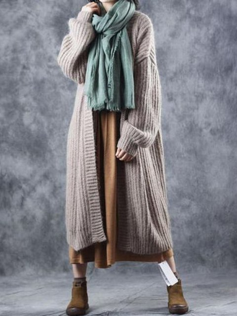 Holiday Knitted Long Sleeve Solid Outerwear