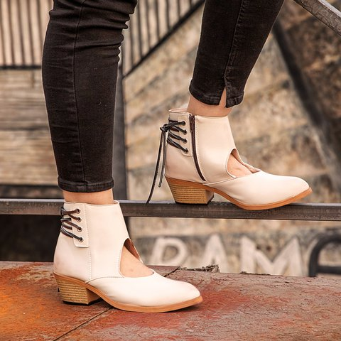 Front Cut Lace Up Side Zipper Chunky Heel Ankle Boots