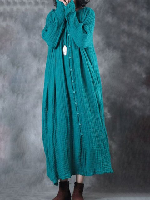 Crew Neck Women Dresses Going Out Buttoned Solid Dresses