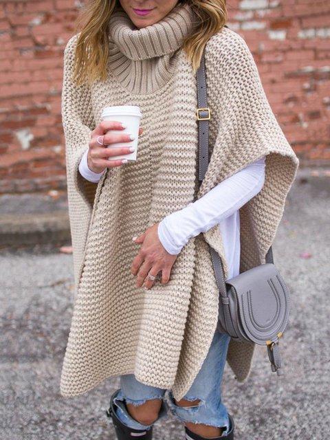 Plus Size Women Batwing Turtleneck Casual Sweaters