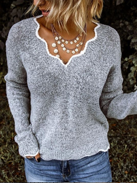 Gray Color-Block Holiday Shirts & Tops