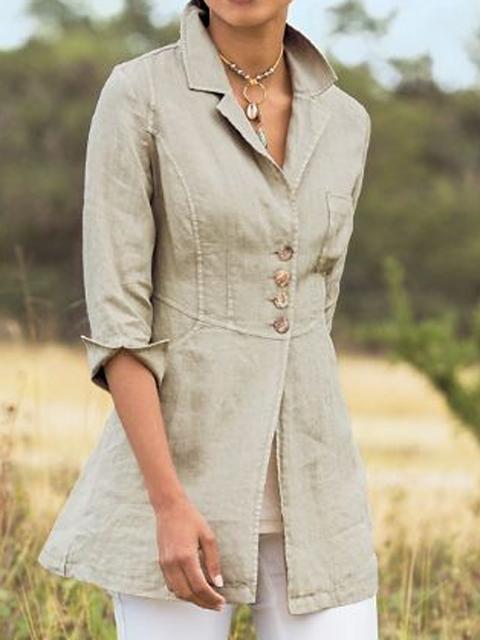 Gray Shirt Collar Linen Long Sleeve Casual Shirts & Tops