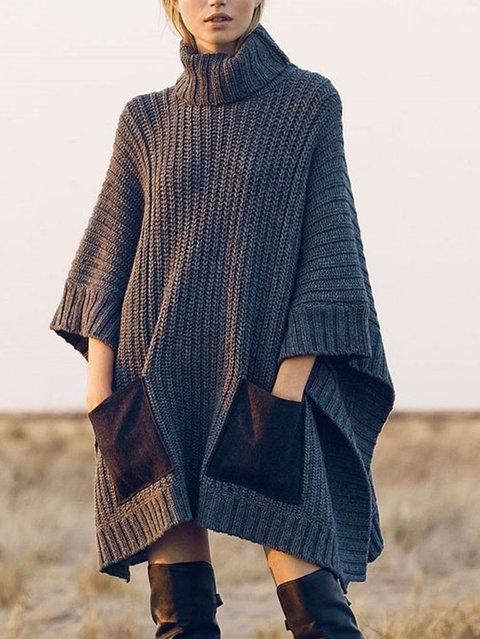 Turtleneck Women Casual Solid Dress