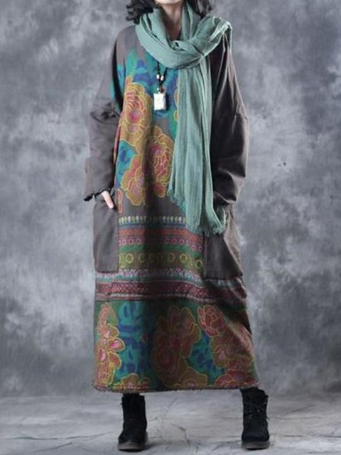 Printed Pockets Floral Crew Neck Women Dresses Going Out Tribal Dresses