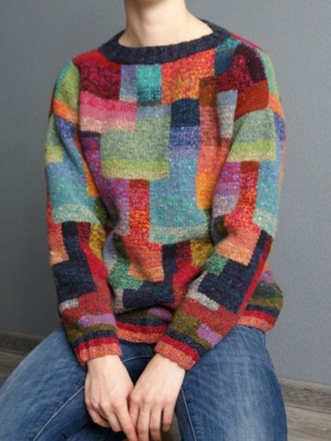 Knitted Geometric Cotton Crew Neck Long Sleeve Sweater