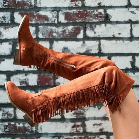 Buckle Strap Tassel Fringe Low Heel Over Knee Tall Boots