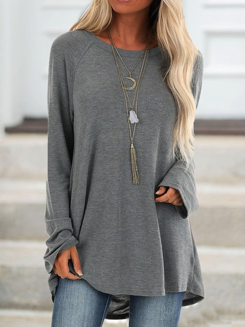 Cotton Casual Crew Neck Solid Long Sleeve Shirts & Tops Gray Black