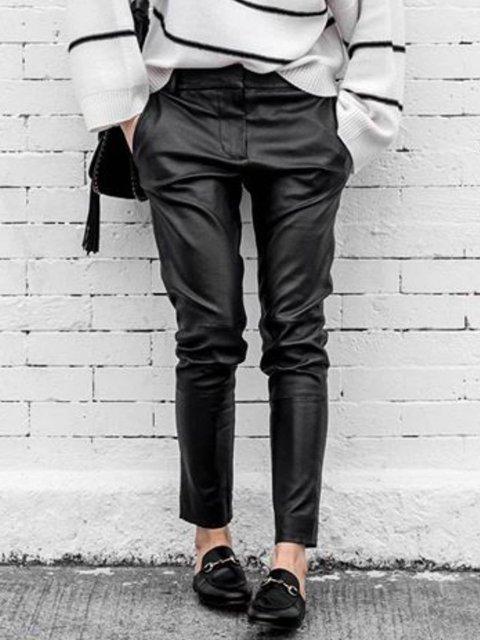 Black Plain Leather Casual Pants