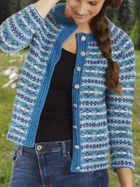 Blue Boho Buttoned Geometric Coats